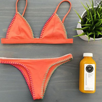New Womens Retro Style Orange Bikinis Set Summer Beach Party Swimsuit gift