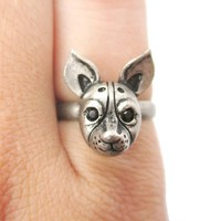 Adjustable Puppy Head Shaped Animal Ring in Silver | Gifts for Dog Lovers