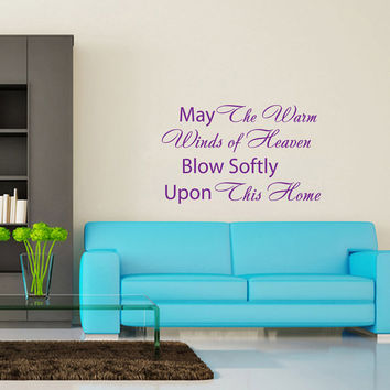 May the warm winds...- Wall Decals Quotes - Wall Vinyl Decal - Wall Home Decor - Art Vinyl Quote Stickers -  Housewares Decals (V902)