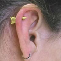 Gold Arrow Cartilage Earring Tragus Helix Piercing