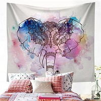 Watercolor Elephant Tapestry