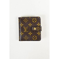 "LV Louis Vuitton Monogram Coated Canvas ""Compact Zip"" Wallet Brown B-MYJSY-BB"