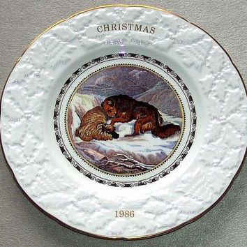 "Coalport China Christmas 1986 11th in annual series Snow Drift 9 1/4"" diameter Plate reproduced from the original Pratt prints (ref: 3196)"