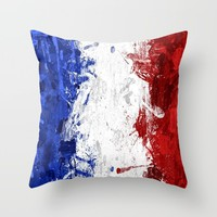 French Flag Throw Pillow by Neon Monsters