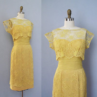 RESERVED for RoyalMint vintage 1950s golden yellow silk chiffon lace cocktail dress XS S