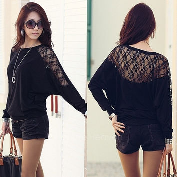 Women's Batwing Sleeve Tops Hollow Out Lace Spliced Loose T-Shirt Blouse Black&White M-XXL AP = 1652584004