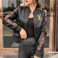 louis vuitton women retro fashion multicolor letter embroidery long sleeve zip cardigan short section pu leather clothes jacket coat