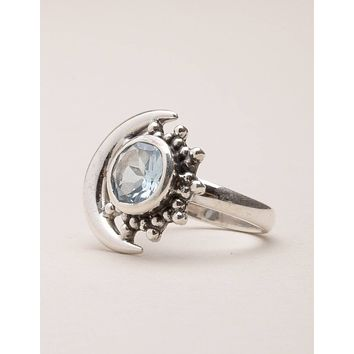 Blue Topaz Silver Moon Ring - Size 7