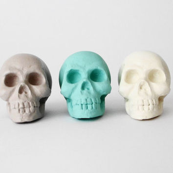 Skull, Set 3, Skulls, Skull Sculpture, Human Skull, Skull Decor, Human Skull Ornament, Made in Australia Skull, Human Skull Decoration