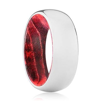 ZINNIA Tungsten Silver Shiny with Black and Red Box Elder Wood Ring