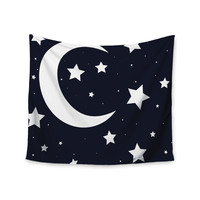 "KESS Original ""Moon & Stars"" Black White Wall Tapestry"