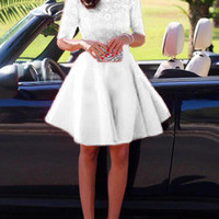 White Eyelet Cut Out Back Skater Dress