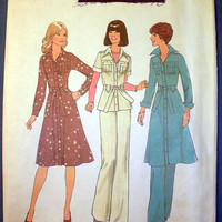 Vintage 1970's Misses Dress or Top and Pants Size 12 Simplicity 7649 Sewing Pattern Uncut
