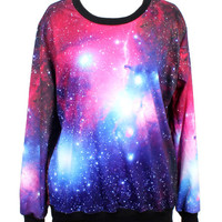 Purple Galaxy Printed Sweatshirt