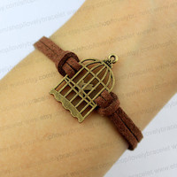 Antique cage personality bracelet, brown cotton rope, eager to free bracelet