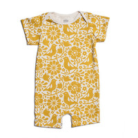 Yellow Birds & Flowers Organic Romper by Winter Water factory