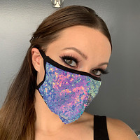 Jade Blue Sequin Face Mask - Roma M112