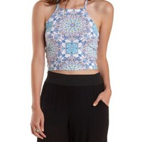 White Combo Caged Back Medallion Print Crop Top by Charlotte Russe