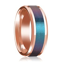 Blue and Purple Color Changing Inlaid 14k Rose Gold Wedding band for Men with Beveled Edges Polished Finish - 8MM