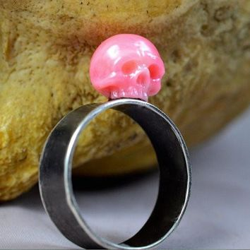 Hand Carved Pink Coral Skull Sterling Silver Ring