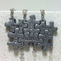 Puzzle Pieces Personalized 6 Necklaces Silver Polymer clay Made to order