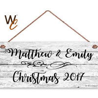 "Couple's First Christmas Sign, Personalized 6""x14"" Sign, Custom First Name & Date, Gift For Newlyweds, Rustic White Wood Style, Holiday Sign"