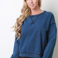Thick Denim Knit Dropped Shoulder Pullover Top