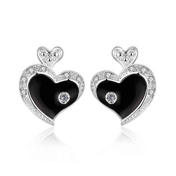 silver plated earrings Oil heart stud ear cuff wedding jewelry 75 MP