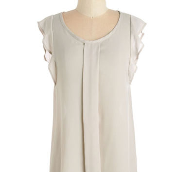 ModCloth Mid-length Cap Sleeves Always Approachable Top in Beige