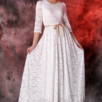 58% off ----white lace maxi dress,wedding dress,party dress,long dress,circle dress,evening dresses