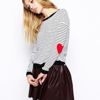 ASOS Stripe Sweater With Heart Elbow Patch -