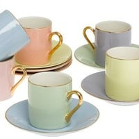 Yedi Houseware Classic Coffee and Tea Solid Espresso Cups and Saucers, Assorted Pastel/Gold, Set of 6