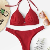 Self Tie Plain Bikini Set