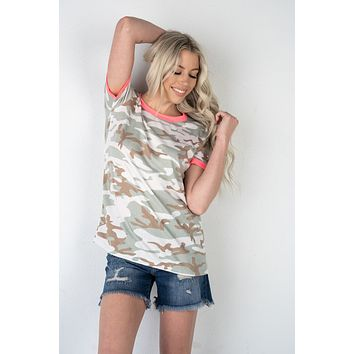 Camo Ringer Tee With Neon Pink (S-3XL)