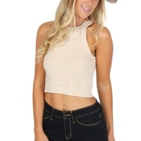 High Neck Ribbed Crop Oat