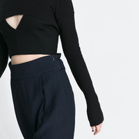CUT - OUT CROPPED TOP - T - shirts - Woman | ZARA United States