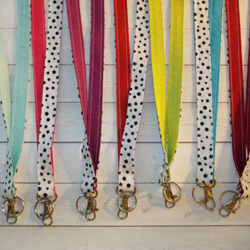 Lanyard ID Badge Holder - black confetti dots white - solid colors - THINNER design  - Lobster clasp and key ring