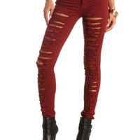 Colored Low Rise Destroyed Skinny Jeans by Charlotte Russe - Wine