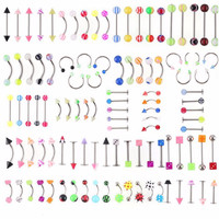 105Pcs Body Jewelry Eyebrow Navel Belly Lip Tongue Nose Piercing Bar Ring SM6