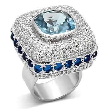 Vintage Wedding Rings LOA861 Rhodium Brass Ring with Synthetic in London Blue
