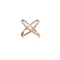 Pave Infinity X Ring (Rose Gold)
