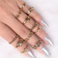 Ritro Rings Set Knuckle Rings Hippie Stone Joint Ring