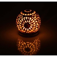 Hand Carved Candle Holder Made Of Soapstone With Intricate Design, White - Benzara