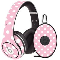 White Polka Dot on Baby Pink Decal Skin for Beats Studio Headphones & Carrying Case by Dr. Dre