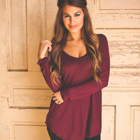 Wine V Neck Tunic