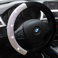 Plush Crystal Steering Wheel Cover