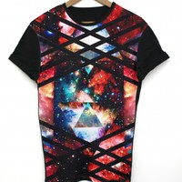 Multi Space Black All Over T Shirt
