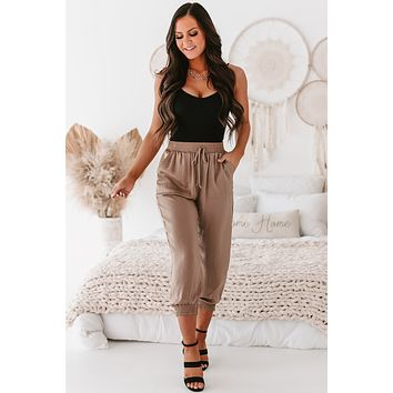 Here To Stay Satin Joggers (Mocha)