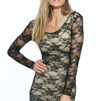 Frederick's of Hollywood Long Sleeve Lace Body-Con Dress Womens