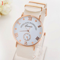 Geneva Hot new fashion for men and women waterproof quartz watches, simple dial scale, thin strap